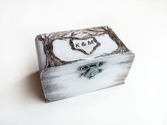 Custom wedding ring box White small wood bearer by WeddingMoodArt Custom Wedding Rings, Wedding Ring Box, Rings For Men, Engagement Rings, Wood, Jewelry, Enagement Rings, Men Rings, Wedding Rings