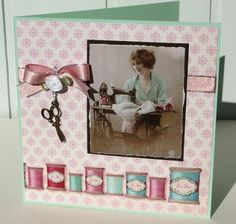 Card for the happy seamstress with Tilda Sewingbird paper