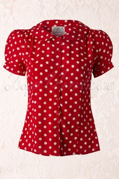 The Seamstress of Bloomsbury - 40s Jive Polkadot Blouse in Red Crepe de Chine