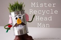 Preschool Crafts for Kids*: Earth Day Mister Recycle Head Man Craft by mavis Earth Day Projects, Earth Day Crafts, Diy For Kids, Crafts For Kids, Arts And Crafts, Eco Kids, Cool Ideas, Earth Day Activities, Activities For Kids
