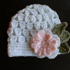 FREE Crochet Patterns: Easy baby hat crochet pattern! (FREE) Baby Beanie with Flower (cluster) by dawn.marie.927