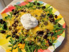 """Arugula nachos""...all of the taste, 1/4 of the calories!  @ My Tasty Journey"