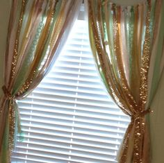 Pink Mint Gold Sequin and Lace Curtains