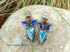Blue turquoise, carnelian agate, blue lapis stone and sterling silver earrings, owl shape. McKee Jewelry Designs