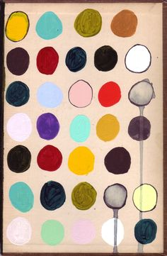 "Beth Hoeckel, ovals, MIxed Media on vintage book cover, 5.25""x8"""