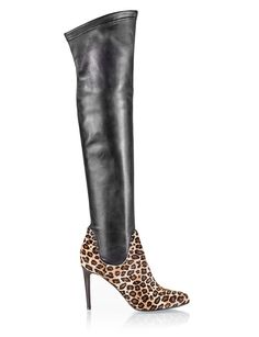 d079bc25b17b Rodo Black elasticated nappa leather & leopard print pony hair stiletto over  the knee boots. Fratelli Karida