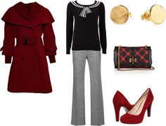 """""""Bold red coat"""" by melissa-delp on Polyvore"""