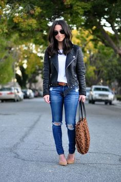 Image result for outfits with jeans and black moto jacket