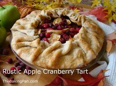 Rustic Apple Cranberry Tart - maybe some GF crust? Tart Recipes, Baking Recipes, Snack Recipes, Dessert Recipes, Fall Desserts, Apple Desserts, Christmas Desserts, Pumpkin Spice Cupcakes, Ice Cream Recipes