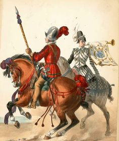 Cavalier and Trumpeter of the French compangnies d'Ordonnance 1549