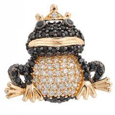 Gold Vermeil CZ Onyx Diamond Pave Frog Pendant