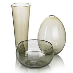 Nuutajarvi three smoky glass vessels by Kaj Franck Finland 1960´s