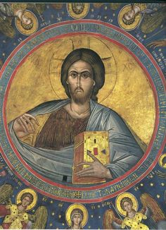 The murals of Theophanes of Crete Holy Quotes, Byzantine Icons, Orthodox Icons, Sacred Art, Fresco, Jesus Christ, Ikon, Statue, Artwork