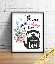 Tea Framed Quotes Print Decor Printable Kitchen Prints Pot Inspirational Art Quote