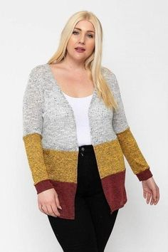 Made In U.S.A 1XL.2XL.3XL Color block, lightweight cardigan featuring three colored knits, an open front, and long sleeves. 33% Rayon 63% Polyester 3% Spandex Rust/Multi POL Color Block, Lightweight Cardigan Outfits Winter, Spandex, Lightweight Cardigan, Cardigan Fashion, Striped Cardigan, Plus Size Tops, Plus Size Fashion, Dresser, Fashion Outfits