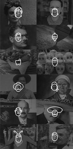 Turning faces into pictograms - avatars? Lindo y Querido by Fernando Loza, via Behance
