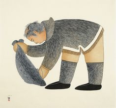 Ningeokuluk Teevee Cape Dorset 2010 Stonecut & Stencil 24 x 26 in. Inuit Kunst, Inuit Art, Inuit People, Paintings I Love, Art Themes, Outsider Art, Western Art, Native American Art, First Nations