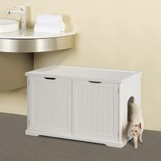 Cat Care Tips Merry Products Cat Litter Box Enclosure and Bench - Cat Furniture, Bathroom Furniture, Litter Box Covers, Litter Box Enclosure, Cat Supplies, Home Projects, New Homes, Storage, Home Decor