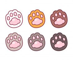 Cartoon cat paw prints set – Buy this stock vector and explore similar vectors at Adobe Stock – stickers – ecat Anime Stickers, Kawaii Stickers, Cute Stickers, Cat Paw Drawing, Paw Print Drawing, Cat Paw Print, Cute Kawaii Drawings, Cute Doodles, Kawaii Doodles