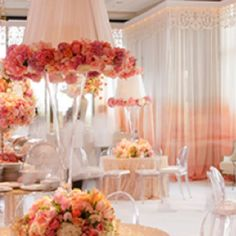 Todd Events -love the ombrè drapes and flower trimmed lampshades. Lampshades, Event Design, Events, Table Decorations, Flowers, Home Decor, Lamp Shades, Decoration Home, Room Decor