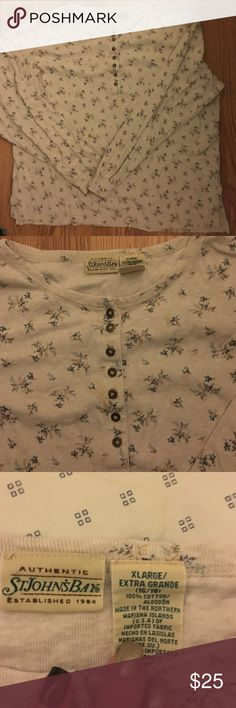 Perfect condition button top Next to new condition top. 100% cotton worm one time. No rips or torn areas. Pet free and smoke free home. Hit to belt buckle. Has buttons on front chest area on perfect condition.heavy great for spring, fall and winter. Cream color with blue flower pattern all over st johns bay Tops Tees - Long Sleeve