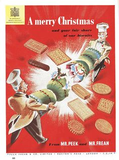 Christmas Biscuits.  Peak Frean buscuits were manufactured in the UK between 1857 and 1989, latterly in Bermondsey, London SE16. I believe that the brand lives on only in the US and Canada, now being part of Kraft Foods.  Scanned from the December 1948 issue of Good Housekeeping magazine. I am assuming that biscuits were off ration by then, having been on since 1942.