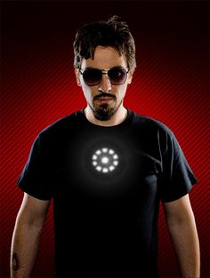 Tony Stark Light up LED Iron Man Shirt. Machine washable, but does not prevent shrapnel from reaching your heart.