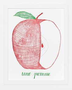 Une Pomme Print by SycamoreStreetPress on Etsy, $35.00