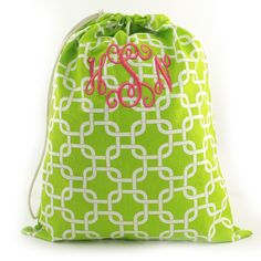 """Great Christmas gift!    Product # GG0084-0700  Green and White Chain Link Laundry Bag  24 1/2"""" l x 22 1/2 w  Cord cinch closure.   $39.00  www.initialoutfitters.net/heatherj/"""
