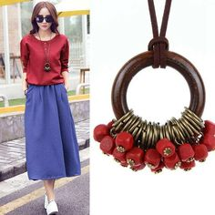 Fashion New statement Vintage Maxi Necklaces Women Jewelry Wooden Beads