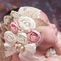 Diy Crafts - Rosette HeadbandBaby Girl HeadbandBaby by ThinkPinkBows on Etsy Baptism Headband, Rosette Headband, Flower Girl Headbands, Baby Headbands, Silk Flowers, Fabric Flowers, Tissu Style Shabby Chic, Vintage Inspiriert, Baby Couture