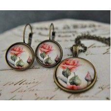 ROMANTİCO Vintage Takı Seti http://ladymirage.com.tr/taki-seti.html/romantico-vintage-taki-seti-60235671.html #takıseti #desenli #çiçek #küpe #kolye #tasarım #elyapımı