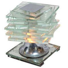 Maison Desny Art Deco Nickelled Brass & Glass Cubist Lamp
