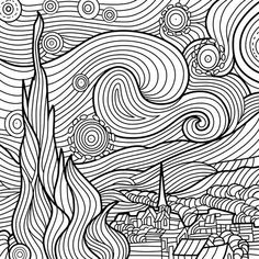 starry night outline | Famous art coloring, Famous artwork ...