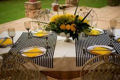 Black, yellow and silver - stunning! Floral Design & Decor  by www.pinkenergyfloraldesign.co.za Centerpieces, Table Decorations, Floral Design, Yellow, Silver, Pink, Black, Home Decor, Decoration Home