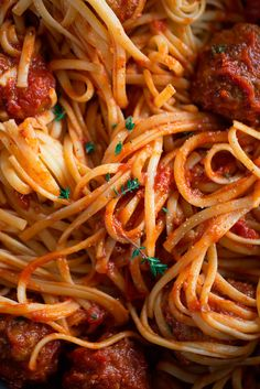 Pasta with meat balls and tomato sauce