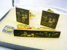 Men/'s Accessories Pagoda Cuff Links Silver Japan AMITA Cuff Links Danascene Silver Tone Cuff Links Wedding Jewelry Landscape Men Jewelry