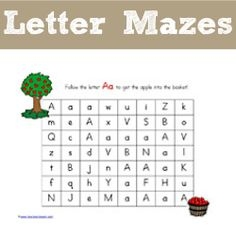 Letter Mazes & ideas for many different ways to use them (Pom Pom magnets, dry erase, dot markers)