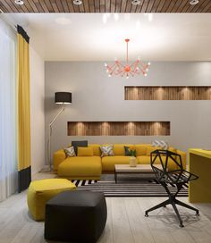 Two Lovely Apartments Featuring Wood Paneling (Interior Design Ideas) Living Room Sofa Design, Living Room Tv Unit Designs, Living Room Interior, Living Room Decor, Drawing Room Design, Drawing Room Interior, Hall Interior, Home Interior Design, Home Decor Furniture