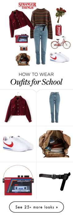"""stranger things inspired"" by jujwong on Polyvore featuring NIKE, Jones New York, Topshop, ASOS, Sarah's Bag and Lomography"