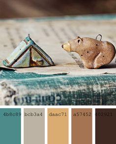 Paletas de colores neutros y verdes azulados #cyan #camel #colorpalette