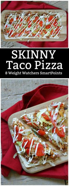 Skinny Taco Pizza recipe - by RecipeGirl.com : 8 Weight Watchers SmartPoints per serving (1/2 of the pizza).