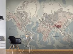 Detailed silver grey world map feature wall wallpaper mural 315cm photo wallpaper wall murals non woven world map atlas modern design wall decals bedroom decor home design wall art decals 297 gumiabroncs Images