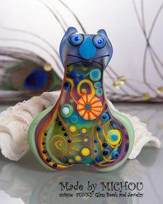Fat Freddd Art Glass Cat by Michou P. Anderson by michoudesign, $129.00