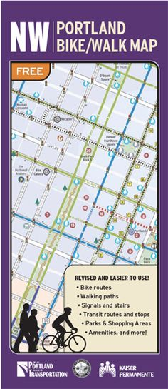 Northwest + Downtown Portland Bike, Walk Map