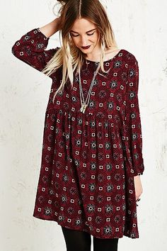 Staring at Stars Tile Print Dress in Burgundy - urbanoutfitters - boho