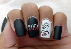 F*ck Love - Anti Valentine Nails  #FuckLove #AntiValentine #heart #love #freehand #Acrylicpaint