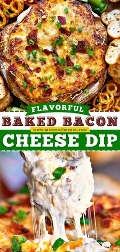 This 4th of July appetizer is always a favorite! Not only is it easy to pull together, but it also has tons of flavor. Baked up in a bread bowl, serving it up with an assortment of dippers is a breeze. Save this Bacon Cheese Dip recipe! Bacon Cheese Dips, Cheese Dip Recipes, Bacon Dip, Baked Cheese, Bacon Recipes, Baked Dip Recipes, Cheese Bread, Bread Bowl Recipes, Recipes With Bacon Dinner