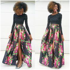 Satin Maxi skirt with hight slit. Floral design on black. Elastic waistband. Diy custom handmade. Shop www.JosephAndElynn.com