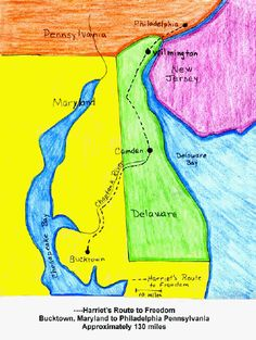 Harriet Tubman's route- map activity for girls